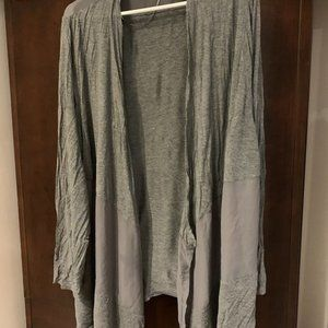 grey open long cardigan with mesh detail a…